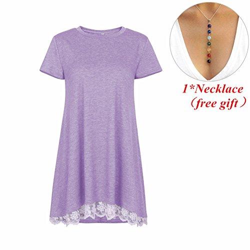 Morbuy Blusas Mujeres, Vintage Tamaño Más Mini Vestido A-Linear Casual Camisetas Góticas Camisas Largas Estampadas Camisetas Manga Short Cuello Redondo Vestido Camisetas (M, Púrpura)