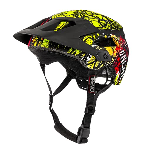 O'NEAL | Mountainbike-Helm | Enduro All-Mountain | Belüftungsöffnungen zur Kühlung, Polster waschbar, Sicherheitsnorm EN1078 | Helmet Defender Vandal | Erwachsene | Neon-Gelb Orange | Größe L/XL