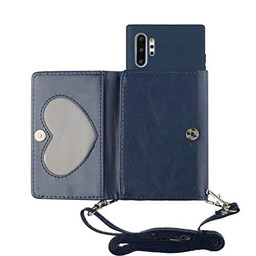 TYWZ Crossbody Hülle für Samsung Galaxy Note 10 Plus,Schultergurt Halsketten Brieftasche PU Leder Handykette mit Kartenhalter Silikon Case mit Kordel zum Umhängen-Dunkel Blau