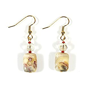 Sonoran Desert Mexican Crazy Lace Agate Dangling Earrings