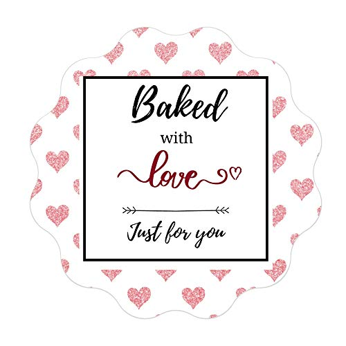 Mobiusea Creation Baked with Love Stickers Roll   Scalloped Cut   Waterproof   1.5 inch   500 Labels for Cookie Cupcake Stickers Homemade Bakery Bread Bags Labels Baked Goods Packaging