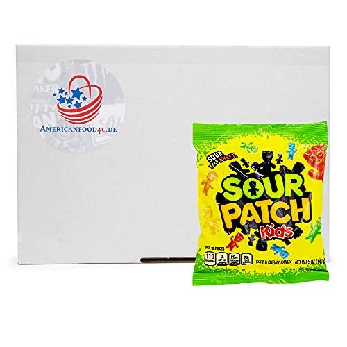 AMERICANFOOD4U Box mit Sour Patch Kids, Fruchtgummi sauer 141g, amerikanische Süßigkeiten, super saure Gummibärchen USA