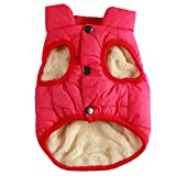 JoyDaog 2 Layers Fleece Lined Warm Dog Jacket for Puppy Winter Cold Weather,Soft Windproof Small Dog Coat,Pink M