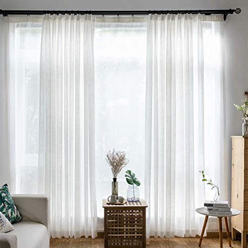 """MacoHome Wide White Sheer Voile Curtain Panel Semi Grommet Top Sheer Window Treatment for Living Room(White, 100"""" W x 63"""" L)"""