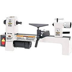 Motor: 1/3 HP, 2 Amp, 110V, Single-phase, 60 Hz 12-inch distance between centers 8-inch swing over bed Cast iron construction and infinitely variable speed control Includes two tool rests
