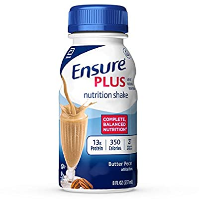 Ensure Plus Nutrition Shake with Fiber, with 13 grams of protein, Meal Replacement Shakes, 8 fl oz, 24 count by Ensure Plus