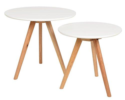 ts-ideen Set 2 tavolini da salotto tavolini da caffé tondi in Rovere e Bianco