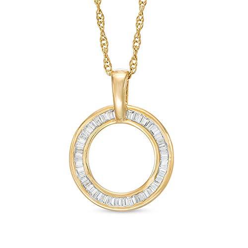 Colgante de círculo abierto de 1/3 quilates con circonita cúbica de corte baguette de diamante chapado en oro amarillo de 10 quilates 925