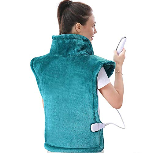 """Large Heating Pad for Back and Shoulder, 24""""x33"""" Heat Wrap with Fast-Heating and 5 Heat Settings, Auto Shut Off Available - Lagoon"""