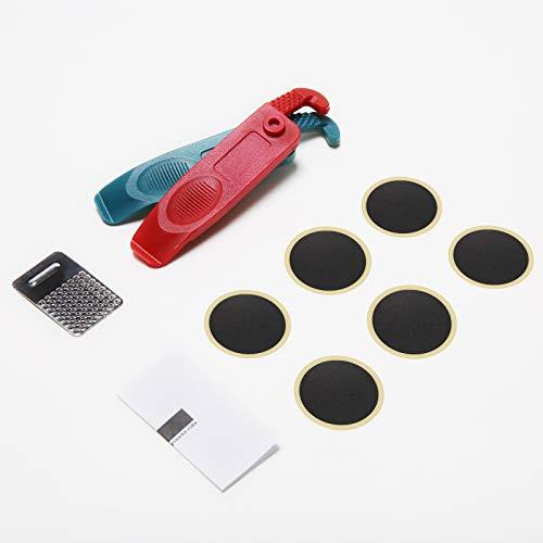 NIERBO Kit de Parche de Neumático para Bicicleta Autoadhesivo Reparación de Pinchazos MTB con Parches y Rallador (Kit A)