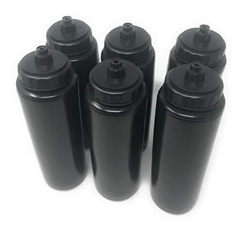 Funiverse 6 x 24oz Plastic Sports Squeeze Water Bottle - Football, Soccer, Baseball, Hockey, Softball, Volleyball (Black) …