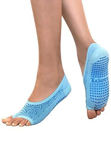 Calcetines de ballet de pilates para mujer, sin dedos antideslizantes, con puntera abierta, para danza - - Talla única