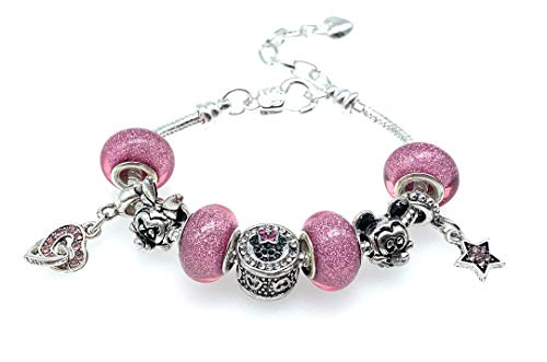 Minney and Mickey Mouse Silver Plated Charm Bracelet for Girls with Gift Box (pink)