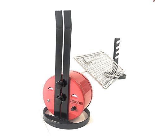 ALLEGRI Tournebroche COiDORi® Alimentation USB avec réglage de la vitesse' Rotation avec Broche en acier inoxydable de 95 cm de long - 2 fourches arrêt viande - grille pour broche