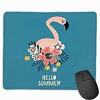 マウスパッド オフィス 最適 フラミンゴ 花 飾り 英文柄 夏 ゲーミング 光学式マウス対応 防水性 耐久性 滑り止め 多機能 標準サイズ25cm×30cm