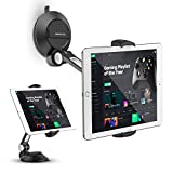"""AboveTEK Phone Tablet Stand Holder with Suction Cup Fits 4-11"""", Large Sticky Pad Tablet Mount on Kitchen Desk Office Window Bathroom Mirror Car Truck Windshield, for iPhone, iPad Mini Air Pro(Black)"""