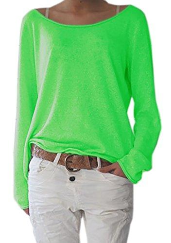 Damen Rundhalsausschnitt Langarm Lose Bluse Strickpulli Hemd Shirt Oversize Sweatshirt in vielen Trend Farben Tops S/M L/XL (632) (S/M, Neon Grün)