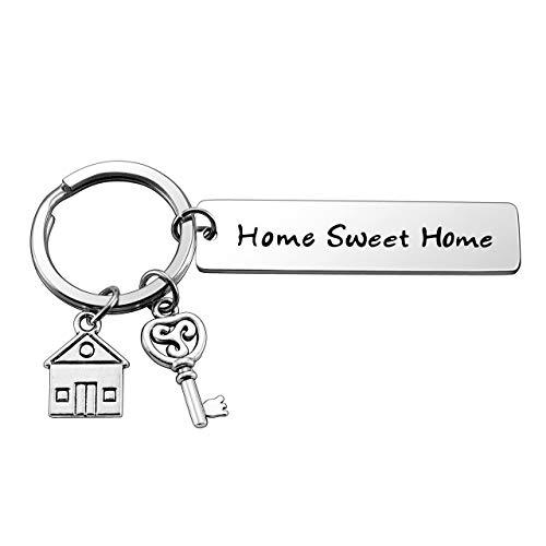 Zysta - Llavero para pareja de acero inoxidable, colgante de casa con texto Home Sweet Home grabado, regalo para él de fiesta 1pcs