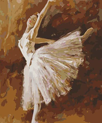 ZLLM Pintar por Numeros Adultos Bailarina De Ballet,para Adultos, Niños, para Manualidades, Lienzo, Pinturas Al Óleo, para Regalo, para Pintar por Números, Decoración De Hogar 40X50Cm Sin Marco