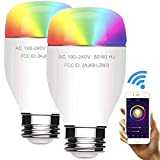 Smart Light Bulb Wi-Fi Color LED Light Work with Alexa & Google Home, Dimmable Multicolored 60W Equivalent RGBW Color Mode, No Hub Required, A19 E26 / E27 Base Type, 7W, 2PCS