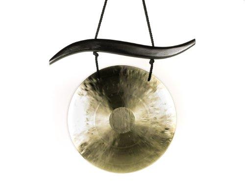 Feng Gong-Set/Wind Gong 30 cm, inklusiv geschwungenem Holzaufhänger aus Holz sowie einem Holz-/ Baumwollklöppel -7071-