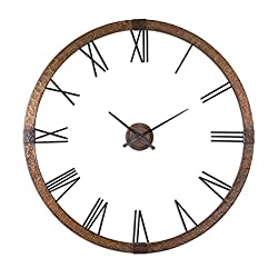 Intelligent Design Hammered Copper Oversize Wall Clock | Contemporary Large Metal