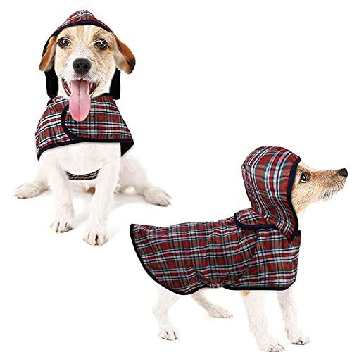 LeerKing Impermeable para Perros Abrigo Impermeable para Mascotas Chubasquero con Capucha y Agujero para Arnés con Etiqueta Mágica para Perros Pequeños y Medianos M