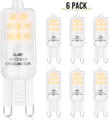 GLIME G9 LED Leuchtmittel 6er Pack, 4.5W 400 Lumen LED Lampen Ersatz für 40W Halogenlampen, 3000K CRI 85+ Warmweiß LED Birne, Kein Flackern Nicht Dimmbar AC 220-240V Mini Glühlampe