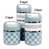 Bruce Dillon Tragbarer, aus Edelstahl isolierter Lunchbox Office Lunchbox auslaufsicherer Thermoskannen-Lebensmittelbehälter - Fester Griff BL, 1Layer-630ml