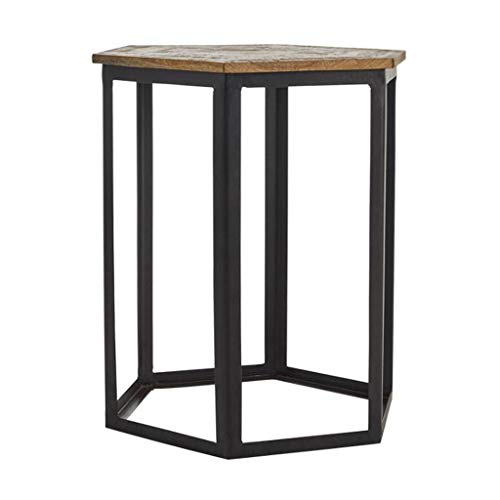 AMYAL Side Table End Table Side Table Iron End Table Solid Wood Corner Table Modern Coffee Table Metal Frame Sofa Table for Living Room Furniture Sofa Coffee Table