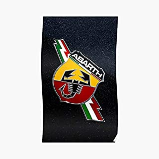 Fiat 500 Abarth Logo Poster - For Office Decor, College Dorm, Teachers, Classroom, Gym Workout And School Halloween, Holiday, Christmas Party ! Great Inspirational Wall Art Poster.