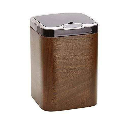 KGDC Cubos de Basura La Basura de inducción Inteligente Creativa Puede 14L de Papel de Basura automática con Tapa Cuadrada de Basura de Madera sólida, Oficina de la Sala de Estar de la hab