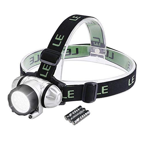 LE Headlamp LED, 4 Modes Headlight Battery Powered Helmet Light for Camping Running Hiking and Reading, AAA Batteries Included
