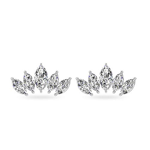 IGI Certified Marquise Diamond Cartilage Earring, IJ-SI Diamond Cluster Flat Back Earring for Women, Unique Crown Helix Tragus Conch Piercing Studs, 14kt White Gold, Pair