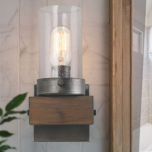 LOG BARN Wooden Vanity Lights, Wall Sconce with Rustic Base and Seeded -