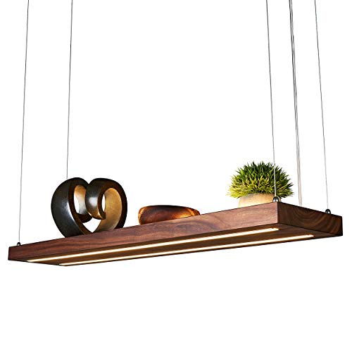 LED Hängelampe | Perfekt über dem Esstisch | Pendelleuchte holz | Edles Design | aus massiver Nussholz | als Regal verwendbar | Dimmbar | (Nussholz 100 cm)