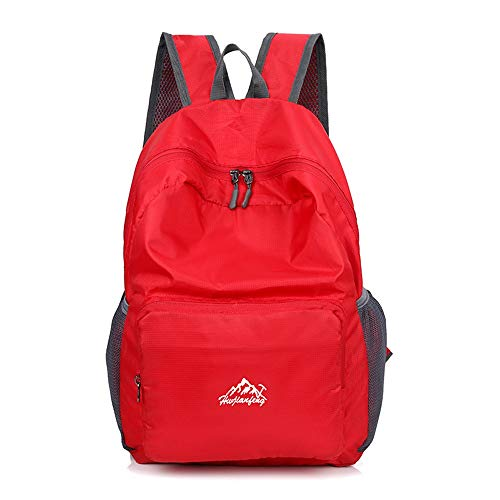 Jtoony Mountaineering Backpack Lightweight Unisex Folding Backpack Gym Bag Outdoor Backpack Lightweight Foldable Day Backpack Outdoor Bag Travelling Backpack Outdoor Sports Backpack (Color : Red)