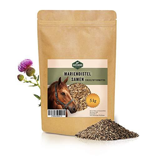Martenbrown Graines de chardon-marie pour désintoxication et métabolisme pour chevaux, chiens et chats - Graines de chardon-marie entières sans additifs - Produit 100 % naturel (5 kg)