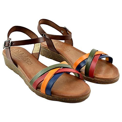 Valeria´s - Sandalia Multicolor DE Piel con Planta DE Gel Y Piso Super-Flexible. Cuero Mujer Color: Multi Talla: 36