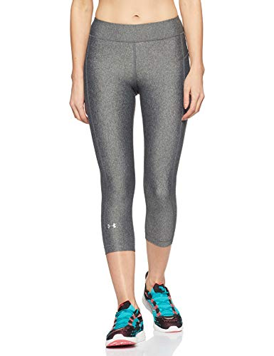 Under Armour HG Armour Capri Leggings, Mujer, Gris (Carbon Heather/Metallic Silver 090),...