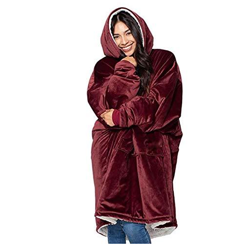 KPII Manta Sudadera con Capucha, Super Soft Warm Sherpa con Bolsillo Frontal Grande Sweatshirt, Talla Unica para Hombre y Mujer,Rojo,One Size