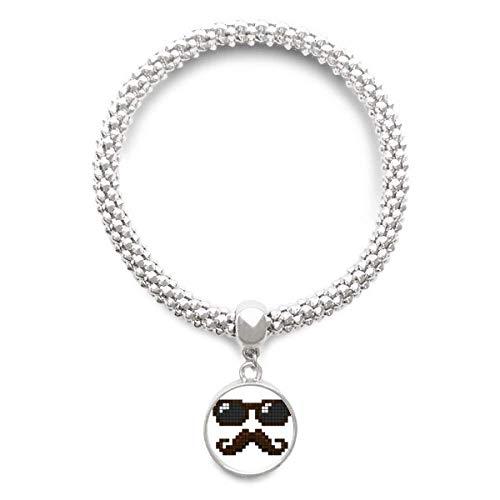 DIYthinker Damen Sonnenbrille Bart-Mann Pixel Sliver Armband Laufende hängende Schmuckkette