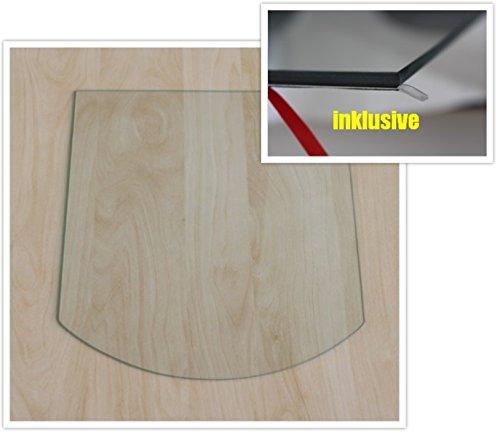 Segmentbogen 100x100cm - Funkenschutzplatte Kaminbodenplatte Glasplatte f.Ofen Unterlage Bodenplatte Kaminofen (Segmentbogen 100x100cm mit Silikon-Dichtung)