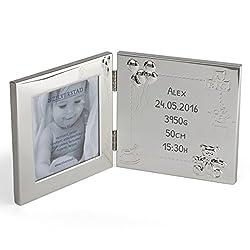 Bilderrahmen mit Gravur für Neugeborene | schönes Geschenk zur Geburt für das erste Foto des schönsten Babys der Welt | Silber, lackiert für ein 10x10 cm Bild