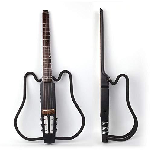 KEPOHK Guitarra eléctrica plegable acústica sin cabeza, conjunto de efectos integrados silenciosos de viaje portátil para zurdos