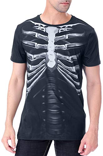 COSAVOROCK Camiseta de Halloween para Hombre Esqueleto de Rayos X (M, Película médica de Rayos X)