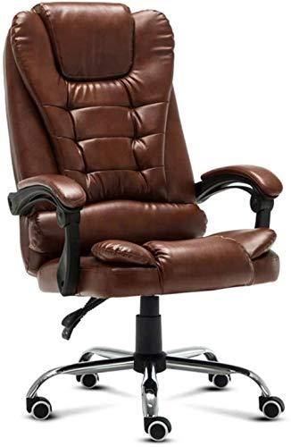 Silla de Oficina, Jefe del Ordenador Silla reclinable ergonómica Butaca giratoria de Cuero Confortable Silla del Ocio Sillón
