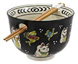 Ebros Gift Auspicious Lucky Meow Cat Japanese Maneki Neko Colorful Porcelain Bowl With Bamboo Chopsticks Set For Salad Ramen Pho Soup Cereal Home Kitchen Decorative Bowl (Black)