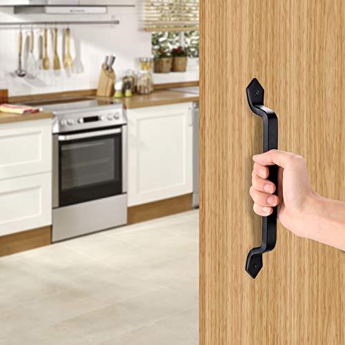 Manija de puerta corredera de 11 pulgadas manija de puerta de jardín de hierro fundido negro