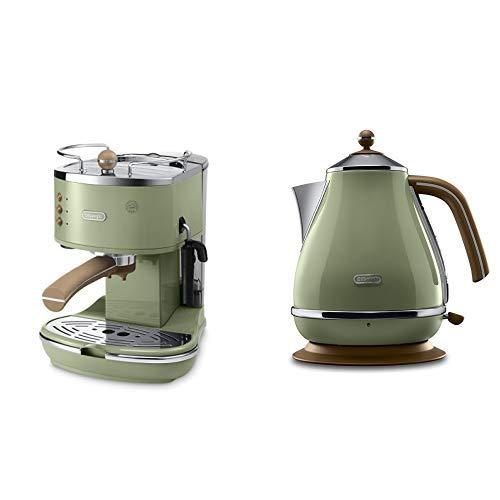 De'Longhi ECOV 311.GR Espresso-Siebträgermaschine (1100 Watt) & De'Longhi KBOV 2001.GR Wasserkocher (1.7 l, Retro-Look) olive